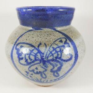 "Vintage Handmade Blue Gray Butterfly Vase, 5"" Signed Decorative Pottery"