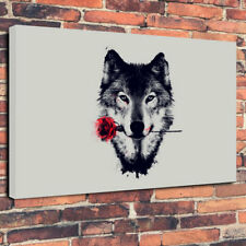 """Wolf With A Rose Printed Canvas Picture A1.30""""x20"""" 30mm Deep Frame Wall Art"""