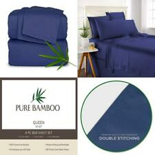 Pure Bamboo Sheets - Queen Size Bed 4-pc Set - 100% Queen, Cobalt Blue