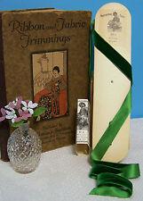 "10 yd Bolt Antique Vintage 1""  Dk Green  French Silk Cotton Velvet Ribbon"