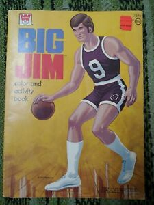 Vintage 1973 Big Jim Color Activity Coloring Book Whitman Basketball 90% Unused