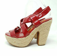 Next 6 / 39 Espadrille Platform Shoes Heels Strappy Red Patent Slingback Sandals