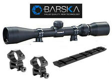 "Barska  3-9x40 Rifle Scope 1/4"" MOA w-Rings & Ruger 10/22 Base Rail Mount"