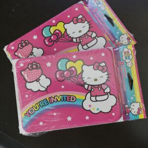 NEW 16 Set Hello Kitty Party Invitation Cards w/ Envelopes +Thank you postcards