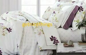 """Yves Delorme Clematis 18"""" Fitted Sheet 75x85"""" White Multi Trellis Cotton Sateen"""