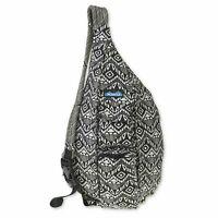 KAVU Rope Bag Sling Crossbody Backpack Travel Cotton Purse - black batik