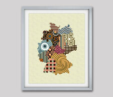 Art Germany Map Print Berlin Wall Decor Abstract Cubist Poster Painting Picture