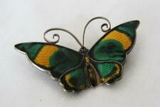 David Anderson - Enameled Butterfly Pin - Green - Gold & Black   Norway