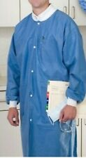( LARGE )10/bag Medical Dental Disposable Lab Coat Gown Blue  knee length new.