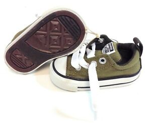 Infant Toddler Converse 745222F Street Ox Olive Green No Tie Grey Sneakers Shoes