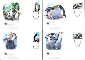 2007 AAT Royal Penguins Set Of 4 On 4 WWF Official FDCs, Mint Condition