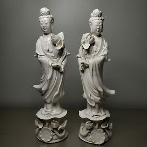 Antique Early 20th Century Chinese Blanc De Chine Guanyin Figurines - A PAIR