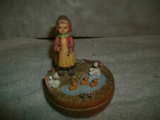 Vintage Anri Carved Wood Girl Tending Her Ducks In A Pond Music Box