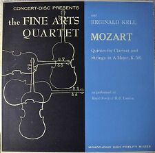 The Fine Arts Quartet Reginald Kell Mozart Quintet for Clarinet LP NM Vinyl 1st