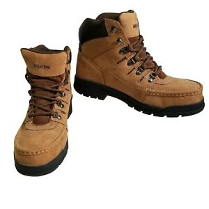 Wolverine Hiking Safety Work Boot Ankle Leather 10.5EW Rubber Sole Light Brown