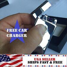 Silver Dual Arc Electric USB Lighter Rechargeable Flameless Windproof Plasma LIT