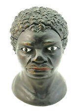 c1880, ANTIQUE 19thC TREEN EBONISED WOOD INKWELL CARICATURE NOVELTY AFRICAN BUST