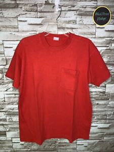Vintage 80's Fruit of The Loom T-Shirt Single Stitch Size  XL Red Pocket Tee USA