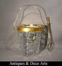 Vintage Bohemian Gold-Plated Metal & Crystal Glass Ice Bucket