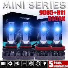 4PCS 9005+H11 Mini LED Headlight 8000K Ice Blue High Low Beam Bulbs 240W 52000LM