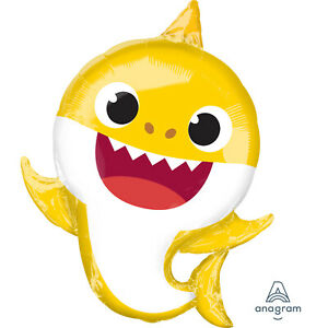 Baby Shark Yellow Super Shape Foil Balloon Childrens Birthday Party Supplies