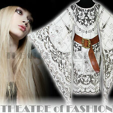 VINTAGE LACE DRESS INDIAN 70s WEDDING 6 8 10 12 14 XS S M WHITE HIPPY BOHO 60s
