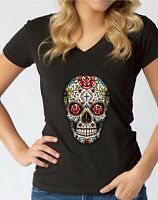 Sugar Skull Roses V-NECK WOMEN T-Shirt Death Gothic Tees Day Of The Dead Shirt