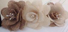 Hessian / Burlap Flower Heads Handmade Corsage Cakes Bouquets x 4