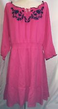 Women's Old Navy Dress Pink Size Large L 100% Cotton NWT Blue Floral Embroidery