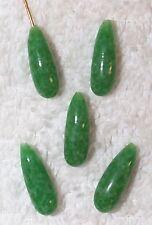 VINTAGE MOTTLED JADE GLASS BRIOLETTE JEWELRY DROPS FINDINGS 10 PCS-GREEN-