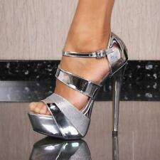Sexy Ladies Platform Shoes High Heels with Glitter Silver #XK-0034