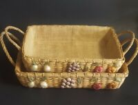 Vintage Casserole Holder Wicker Raffia Pyrex Carrier Lined Basket Fruit Nesting
