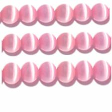 "Cats Eye Beads 4mm Pink Strand Grade ""A"" Fiber optic 100 Beads per strand"