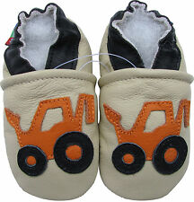 carozoo forklift cream 3-4y soft sole leather toddler boy shoes