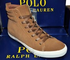 POLO RALPH LAUREN men GAVEN HIGH TOP SNEAKERS Suede Lace Shoes Snuff Brown 10 D
