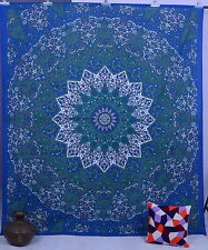 Indian Cotton Wall Hanging Star Mandala Queen Tapestry Blue Bedding Bed Throw