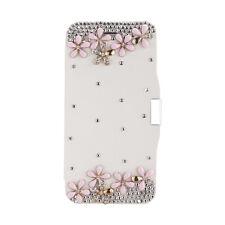 Sublime Etui portefeuille housse pour iphone 6 blanc diamants et fleurs   NEUF !