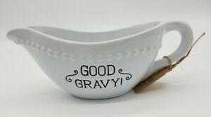Farmhouse Style GOOD GRAVY 17 Oz White Gravy Boat With Black Letters - New