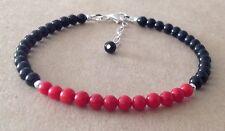 Black Onyx+RED CORAL Gemstone, Sterling Silver, Beaded Friendship Bracelet