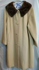 Premium Quality Hand Tailored 100% Cashmere Fur Collar Dress Coat