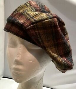 Australian made Wool  Beanie cap fully lined washable tartan fashion hat large