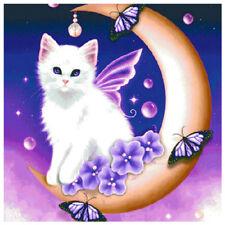 DIY 5D Diamond Sticker Moon Cat Embroidery Painting Cross Stitch Kits Home V3U8
