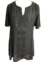 Size 14 Ladies Black Embroidered and beaded Kaftan Tunic Tops UK new