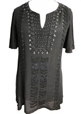 Size 8 Ladies Black Embroidered and beaded Kaftan Tunic Tops UK new