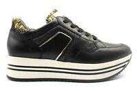 Scarpe da donna Nero Giardini 3302D sneakers platform nere casual sportive pelle