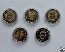 FULL SET 5 Coins * 5 Hryvnia 'WESTERN REGIONS of Ukraine' 2014 Bimetal Low Mint
