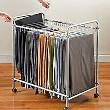 New Rolling Pants Trolley 18 Hanger Clothes Cart Storage Organizer Drying  Rack