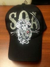 Authentic Sons Of Anarchy Soa Sickle Reaper Biker Logo Skull Samcro Hat Cap