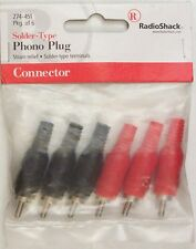 RadioShack 274-451 Male RCA Phono Plugs ~ Solder-Type ~ Red/Black ~ 6/PK