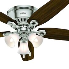 "Hunter 52"" Low Profile Ceiling Fan in Brushed Nickel with 3 Lights"